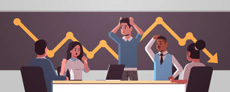 businesspeople team frustrated about falling economic graph arrow fall down financial crisis bankrupt investment risk concept mix race stressed employees sitting at round table horizontal portrait vector illustration