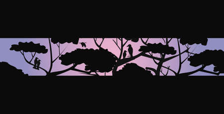 trees and birds silhouettes night landscape bushfire natural disaster concept pray for Australia horizontal vector illustration