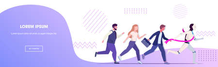hymanoid winner running with businesspeople robot vs human business competition artificial intelligence domination concept horizontal copy space vector illustration