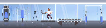 woman blogger running on treadmill recording video with camera on tripod social network blogging healthy lifestyle concept modern gym interior full length horizontal vector illustration