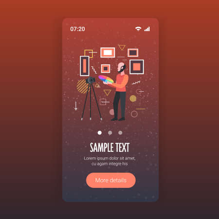 man designer holding colored palette samples blogger recording online video with digital camera on tripod social network blogging concept smartphone screen mobile app full length copy space vector illustration Ilustrace