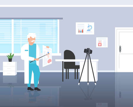 psychologist doctor blogger explaining human brain recording video with camera on tripod medicine psychology blogging concept modern clinic interior full length horizontal vector illustration