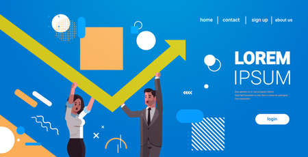 businesspeople couple rising up red growing arrow teamwork financial growth concept business people correcting direction of arrow horizontal portrait copy space vector illustration