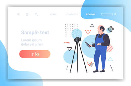 handyman worker with screwdriver and cutting pliers blogger recording online video with digital camera on tripod social network blogging concept full length horizontal copy space vector illustration Ilustrace