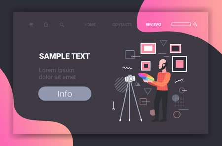 man designer holding colored palette samples blogger recording online video with digital camera on tripod social network blogging concept full length horizontal copy space vector illustration