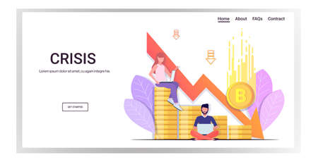 stressed businesspeople frustrated about fallen in price bitcoin collapse of crypto currency falling down arrow financial crisis bankrupt investment risk concept full length horizontal copy space vector illustration