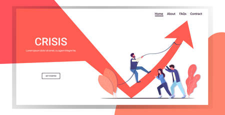 businesspeople team pushing arrow graph up growth financial crisis teamwork investment risk concept business people controlling red chart moving upward full length horizontal copy space vector illustration
