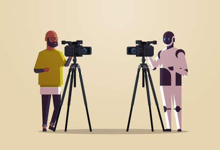 robotic operator with cameraman using video camera on tripod robot vs human standing together broadcasting artificial intelligence technology concept flat full length horizontal vector illustration