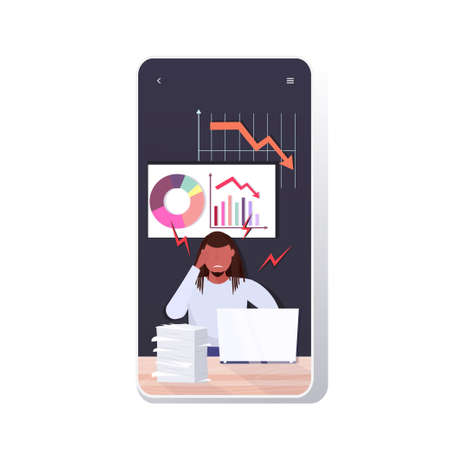 overworked businessman using laptop analyzing downward graph chart economic arrow falling down financial crisis bankruptcy concept smartphone screen mobile app vector illustration