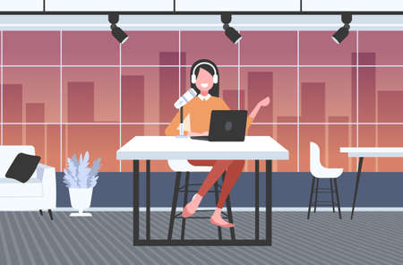 woman podcaster in headphones talking to microphone recording podcast in studio podcasting online radio concept full length horizontal vector illustration
