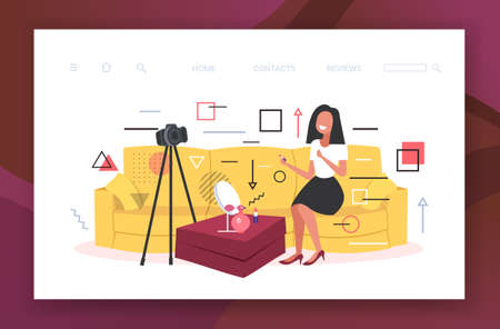 beauty blogger applying lipstick woman showing trend makeup tutorial recording online video with camera on tripod blogging concept horizontal copy space full length vector illustration