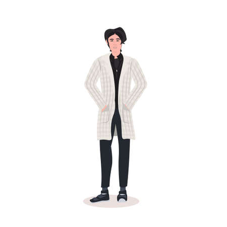 beautiful man standing pose male cartoon character in fashion clothes full length flat vector illustration