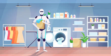 robot putting dirty clothes into washing machine artificial intelligence technology housekeeping concept modern laundry room interior full length horizontal vector illustration