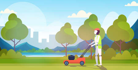 modern robot cutting grass with lawn mower robotic gardener artificial intelligence technology gardening concept urban park landscape background horizontal full length vector illustration