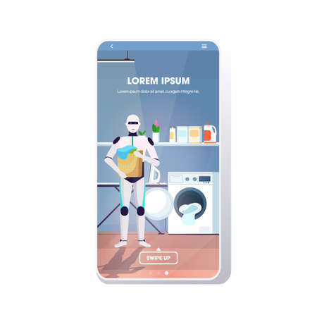 robot holding basket with dirty clothes artificial intelligence technology housekeeping concept laundry room interior full length smartphone screen mobile app copy space vector illustration Ilustração