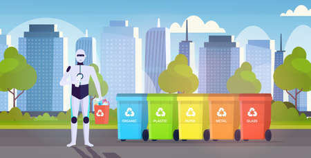 robotic character holding plastic rubbish container near colorful trash cans artificial intelligence segregate waste recycle concept cityscape background horizontal full length vector illustration Çizim