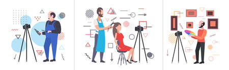 set bloggers recording online video with camera on tripod live streaming broadcast social media networking blogging concepts collection horizontal full length vector illustration