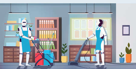 modern robotic cleaners using vacuum cleaner artificial intelligence technology cleaning concept modern office interior horizontal full length vector illustration Vecteurs