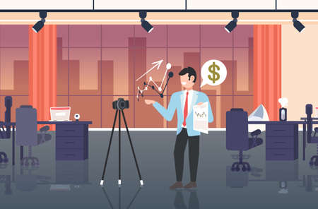 businesswoman blogger explaining charts financial graph business man recording online video with camera on tripod presentation blogging concept modern office interior full length horizontal vector illustration