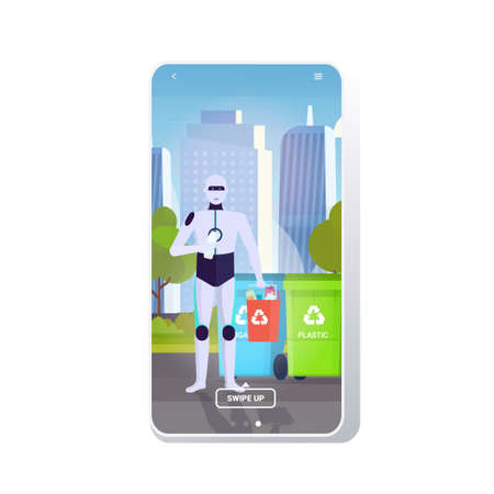 robotic character holding plastic rubbish container near colorful trash cans artificial intelligence segregate waste recycle concept cityscape background mobile app copy space full length vector illustration