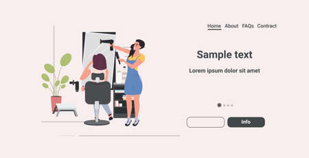 hairdresser using hair dryer making hair style to her client beauty salon concept horizontal copy space full length vector illustration