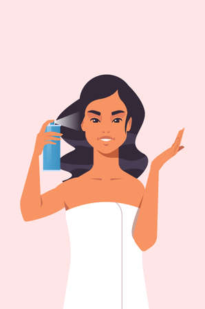 young woman applying hair spray dressed in towel girl haircare spa relax treatment concept portrait vector illustration Çizim