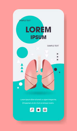 lungs structure human internal organ anatomy biology healthcare medical concept respiratory breathing system smartphone screen mobile app vertical copy space flat vector illustration Ilustrace