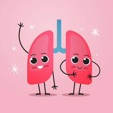 cute lungs characters funny human internal mascot organ anatomy healthcare medical concept respiratory breathing system vector illustration Ilustrace