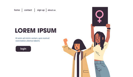 women empowerment activists protesting holding placard with female gender sign feminist demonstration girl power movement rights protection concept portrait horizontal copy space vector illustration