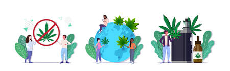 set people holding ban drug sign putting cannabis leaves on world map smoking marijuana vape drugs consumption concepts collection full length horizontal vector illustration 向量圖像