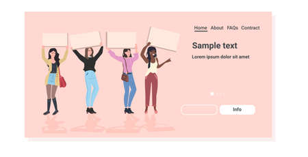 mix race activists protesting holding blank placards feminist demonstration girl power movement rights protection women empowerment concept full length horizontal copy space vector illustration