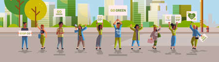 environmental activists holding posters go green save planet strike concept protesters campaigning to protect earth demonstrating against global warming cityscape background horizontal full length vector illustration