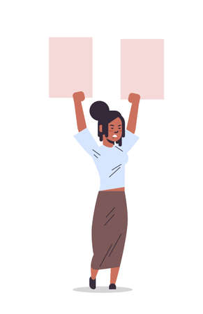 woman activist protesting holding blank placard feminist demonstration girl power movement rights protection women empowerment concept full length vertical vector illustration