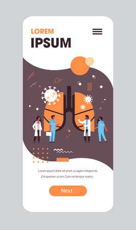 epidemic MERS-CoV bacteria floating influenza virus cells doctors analyzing human injured lungs coronavirus 2019-nCoV pandemic medical health risk full length mobile app copy space vector illustration Vektoros illusztráció