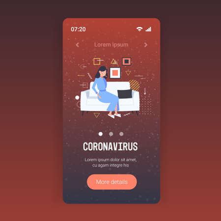 sick woman with fever and red rash coronavirus infection symptoms epidemic MERS-CoV virus wuhan 2019-nCoV pandemic health risk concept full length mobile app copy space vector illustration