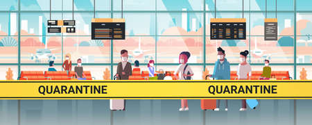 epidemic MERS-CoV orange tape with quarantine inscription at airport terminal with mix race passengers coronavirus infection 2019-nCoV pandemic health risk concept horizontal vector illustration