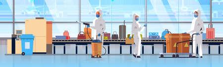 medical workers in hazmat suits cleaning disinfecting baggage conveyor belt at airport coronavirus epidemic MERS-CoV virus concept 2019-nCoV pandemic health risk full length horizontal vector illustration