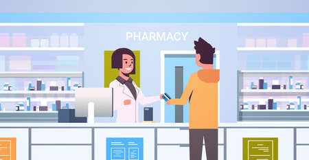 female doctor pharmacist taking credit card from male customer patient at pharmacy counter modern drugstore interior medicine healthcare concept horizontal portrait vector illustration