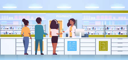 female doctor pharmacist giving pills to customers african american patients at pharmacy counter modern drugstore interior medicine healthcare concept horizontal full length vector illustration