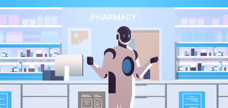 robotic doctor pharmacist standing at pharmacy counter modern drugstore interior artificial intelligence technology medicine healthcare concept horizontal portrait vector illustration