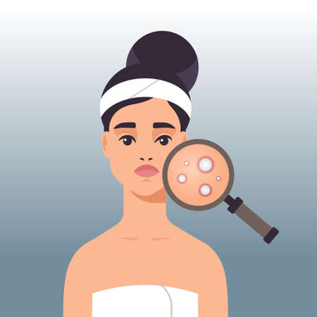 woman having facial skin problems girl using magnifier to find acne on face area portrait vector illustration