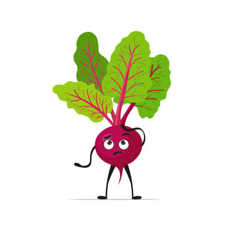 cute beet character cartoon mascot vegetable healthy food concept isolated vector illustration