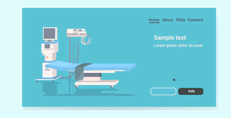 life support machine and bed at hospital ward or operating room medicine healthcare emergency medical equipment concept horizontal copy space vector illustration Çizim