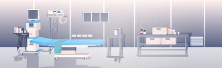 modern clinic intensive therapy room empty no people hospital ward interior horizontal vector illustration