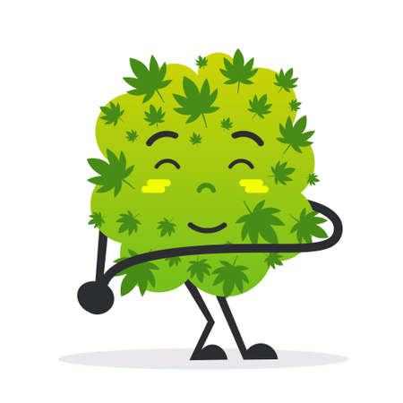cute smiling cannabis weed bud cartoon character medical marijuana drug consumption concept flat vector illustration