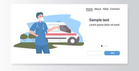 female doctor with stethoscope in uniform standing near ambulance car healthcare medicine concept portrait horizontal copy space vector illustration Illustration