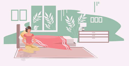 woman suffering from abdominal pain injury on belly area girl having stomach ache modern bedroom interior full length horizontal vector illustration