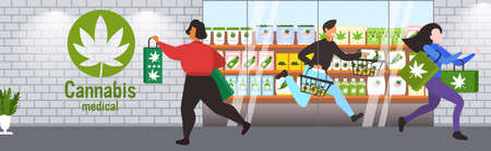 people carrying cbd products modern cannabis shop exterior marijuana legalization drugs consumption concept horizontal full length vector illustration