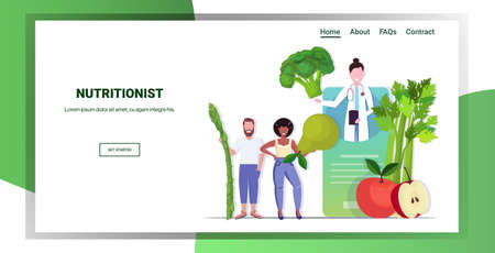 doctor nutritionist explaining to patients properties of fresh vegetables and fruits healthy lifestyle nutrition online medical consultation concept mobile app horizontal copy space full length vector  イラスト・ベクター素材