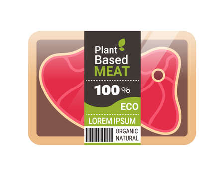 plant based vegetarian steak beyond meat in packaging organic natural vegan food concept horizontal copy space vector illustration